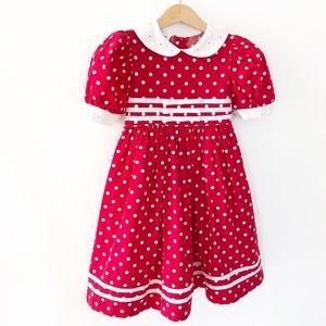 Vintage De'but Red Polka Dot Eyelet Ribbon Trim 4T